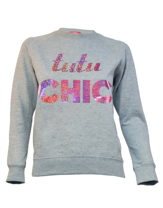 Tutu Chic grey sweater holographic