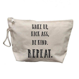 Wake Up Kick Ass Be Kind Makeup Bag