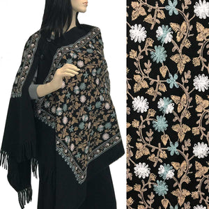 Embroidered Cashmere Feel Shawl