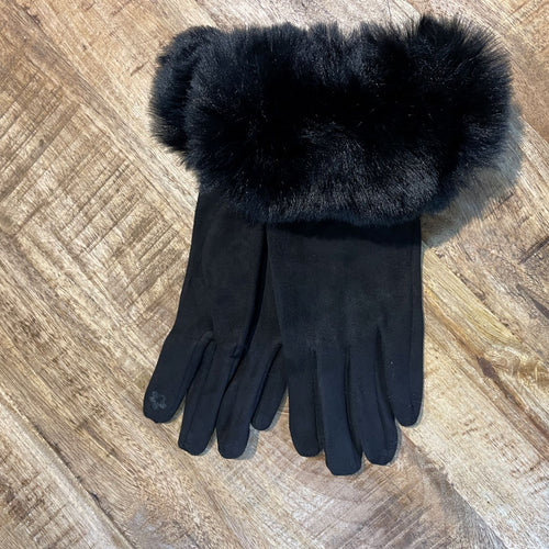 Elegant Faux Fur Trim Gloves