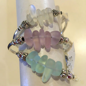 Sea Glass Silver Wrap Bracelet