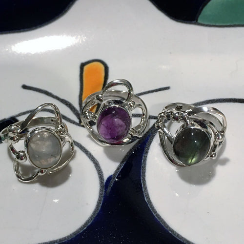Assorted Sterling & Gemstone Rings