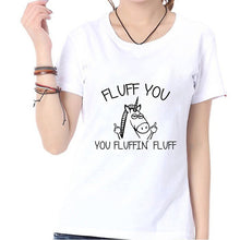 "Load image into Gallery viewer, Women Unicorn T-Shirt ""Fluff you"" - Unicorn.io Shop"