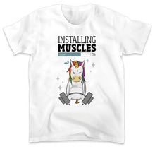 "Load image into Gallery viewer, Men Unicorn T-Shirt ""Installing Muscles"" - Unicorn.io Shop"