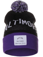American Cities Baltimore Maryland Arch Letters Pom Pom Knit Hat Cap Beanie