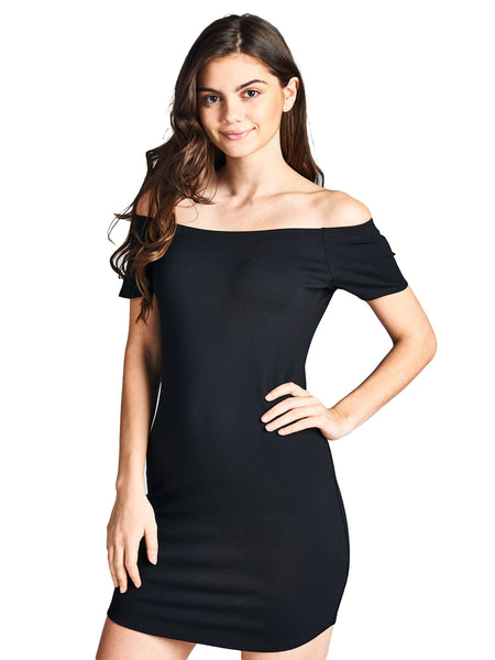 Emmalise Women's Sexy Off Shoulder Bodycon Mini Dress Short Sleeves