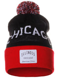 American Cities Chicago Illinois Arch Letters Pom Pom Knit Hat Cap Beanie