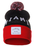 American Cities Miami Florida Arch Letters Pom Pom Knit Hat Cap Beanie