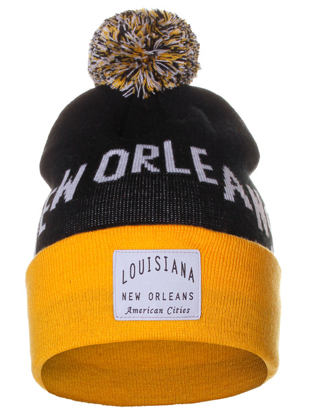 American Cities New Orleans Louisiana Arch Letters Pom Pom Knit Hat Cap Beanie