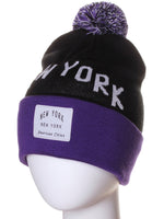American Cities New York NY Arch Letters Pom Pom Knit Hat Cap Beanie