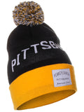 American Cities Pittsbugh Pennsylvania Arch Letters Pom Pom Knit Hat Cap Beanie