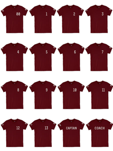 Daxton Adult Unisex Burgundy Tshirt Custom Sports Team Numbers