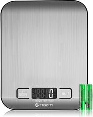 Etekcity Digital Kitchen Scale Multifunction Food Scale, 11 lb 5 kg, Silver, Stainless Steel