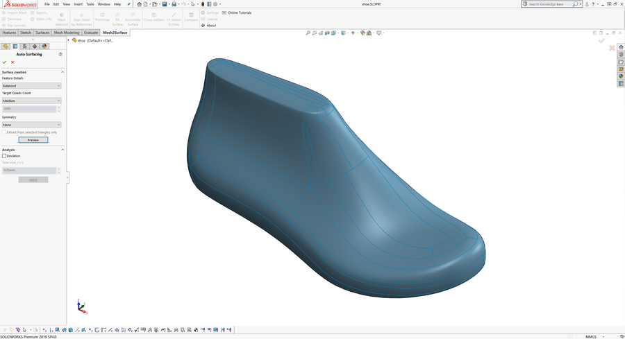 Mesh2Surface (SOLIDWORKS Plug-in)