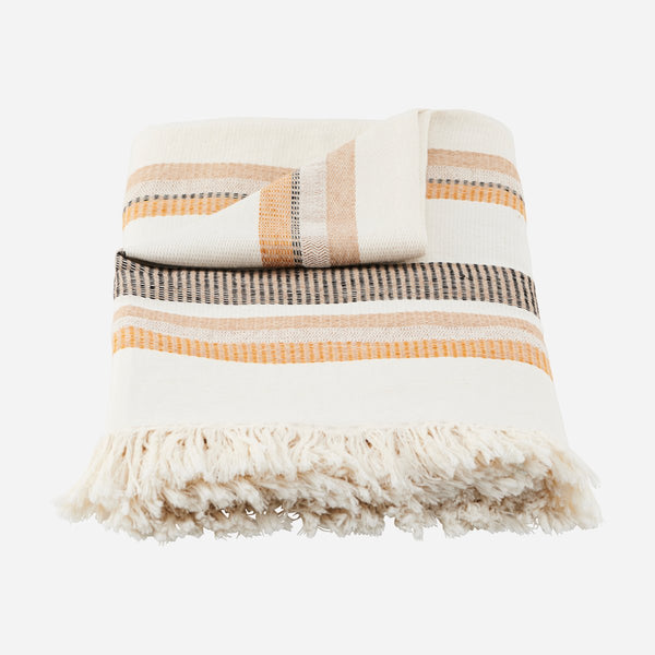 Off-White Plaid Throw - Marly - Artysan