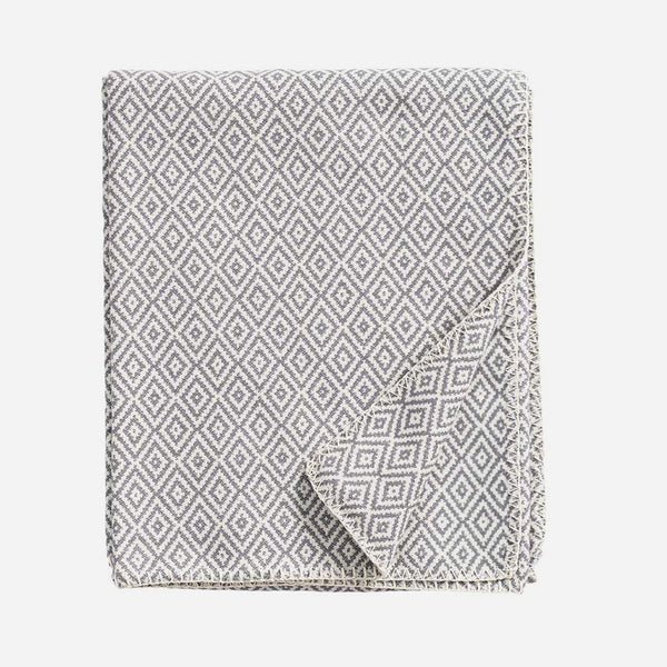Stella Grey Woven Cotton Blanket - Artysan