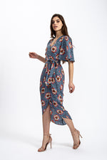 Lara Short Sleeve Wrap Dress in floral & Leopard Print
