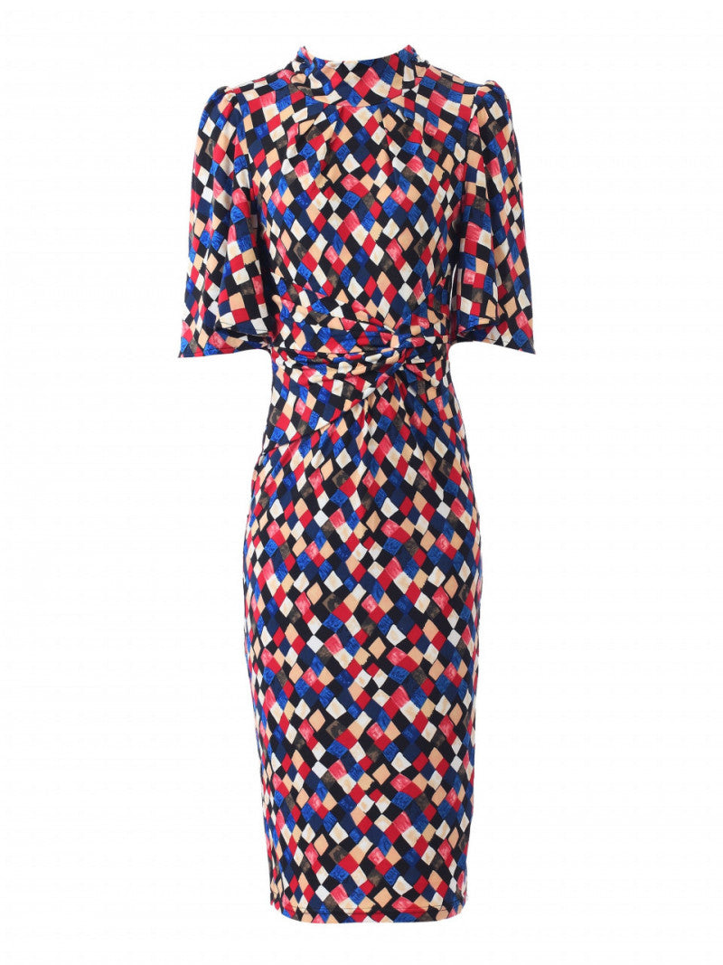 Quinn Diamond Print High Neck Midi Dress