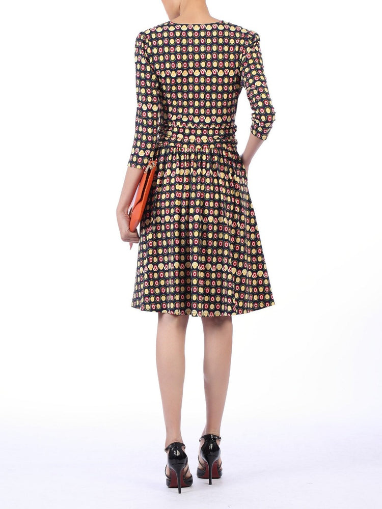 Lily Crossover Front Sleeved Dress, Black Polka Dots