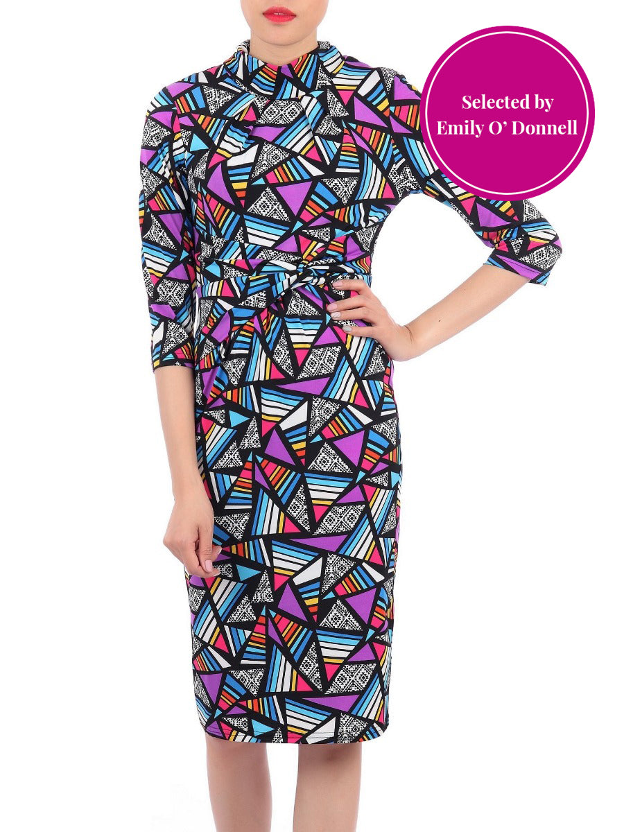 Elan Royal Geometric Printed Dress Medium Sleeves