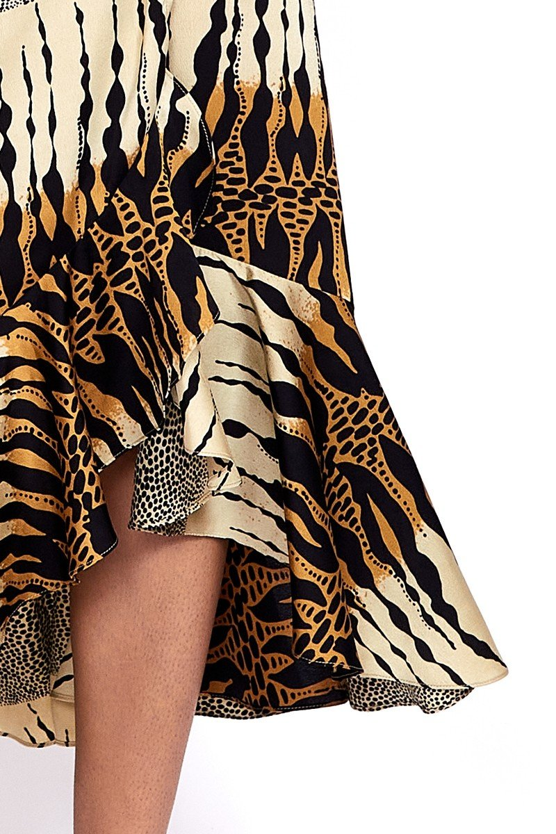 Sinead Maxi Wrap Dress In Layered Abstract Print