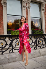 Red and Pink Contrast Print Wrap Dress