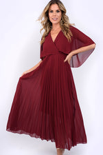 Sybil Pleated Midi Dress - Wine