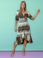 Sine Midi Wrap Dress In Layered Abstract Print
