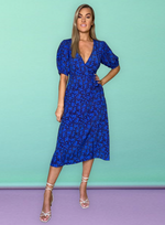 Sapphire Blue Ditsy Floral Puff Sleeve Midi Dress