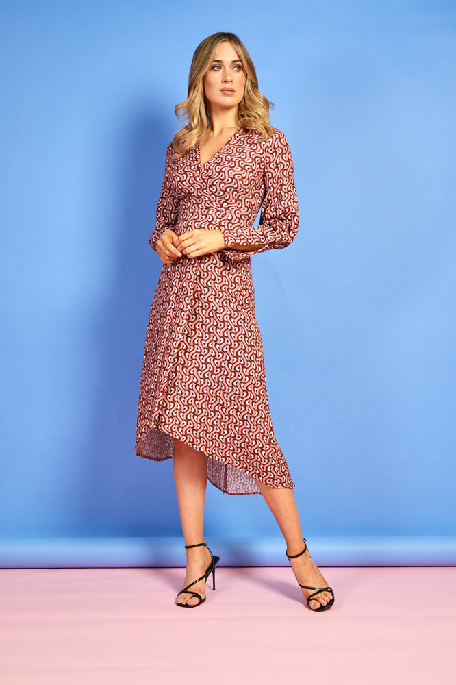Regan Long Sleeve Printed Dress
