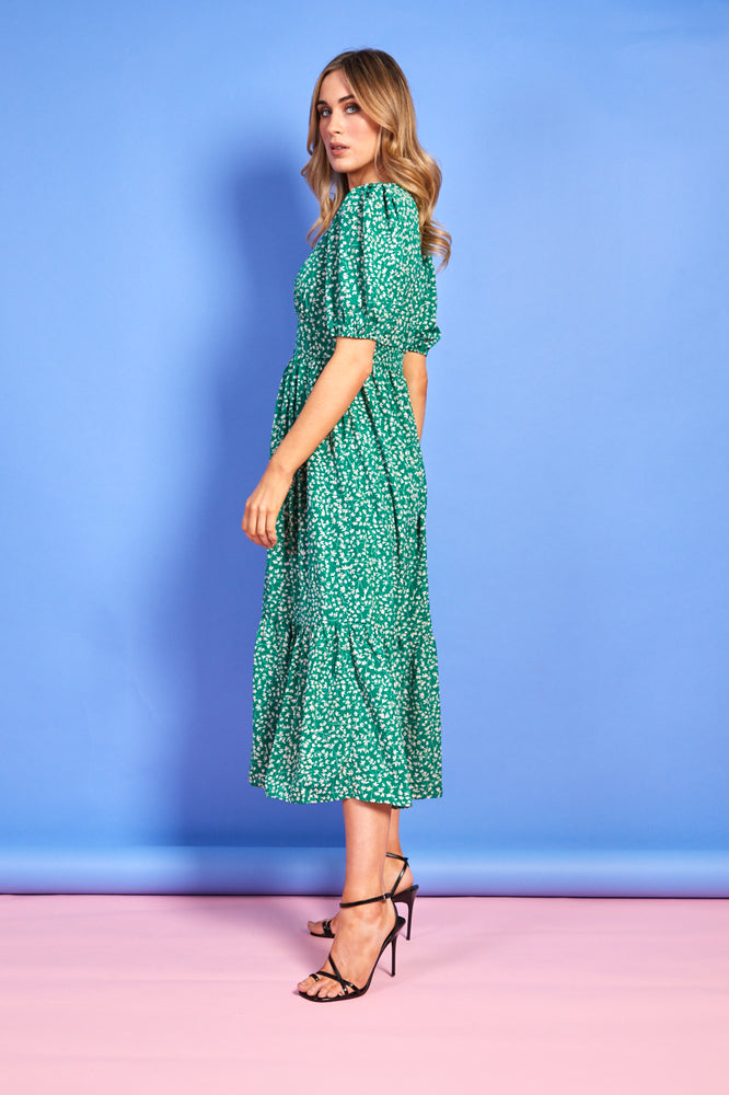 Lucy Floral Print Dress - Green