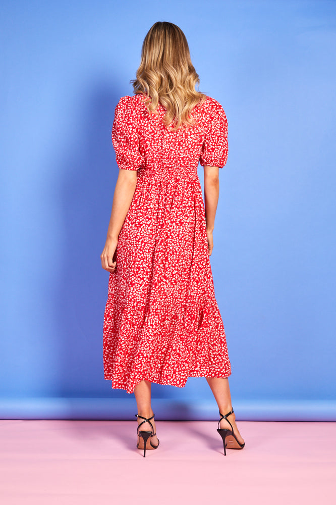 Lucy Floral Print Dress - Red