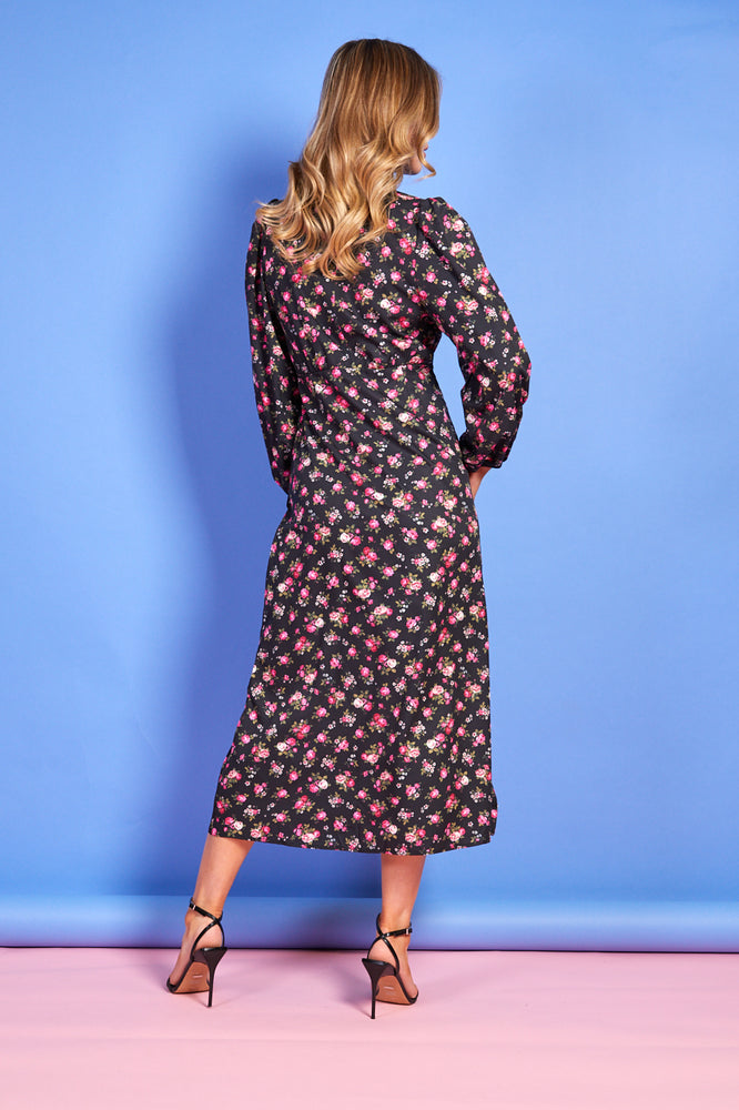Grace Floral Print Dress - Black