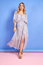 Emmajane Purple and Blue Floral Print Dress