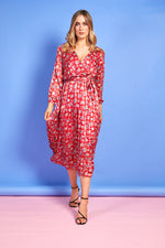 Molly Red Floral Printed Dress