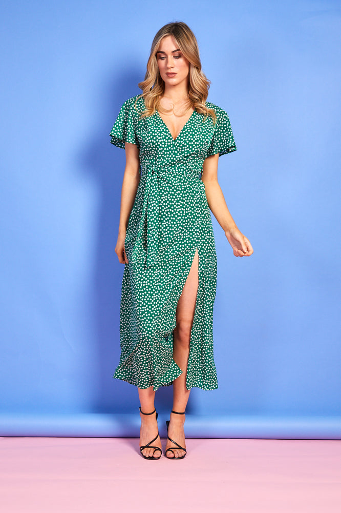Kirsty Wrap Floral Dress with Slit - Green