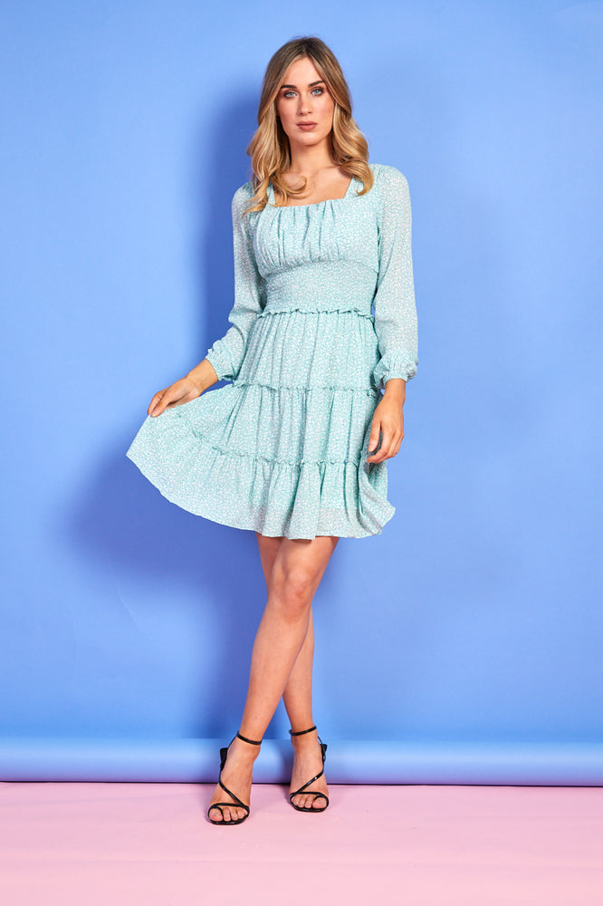 Amelia Short Mint Green Ruffle Dress