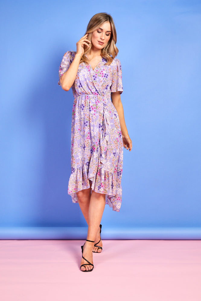 Maddie Purple Summer Print Dress
