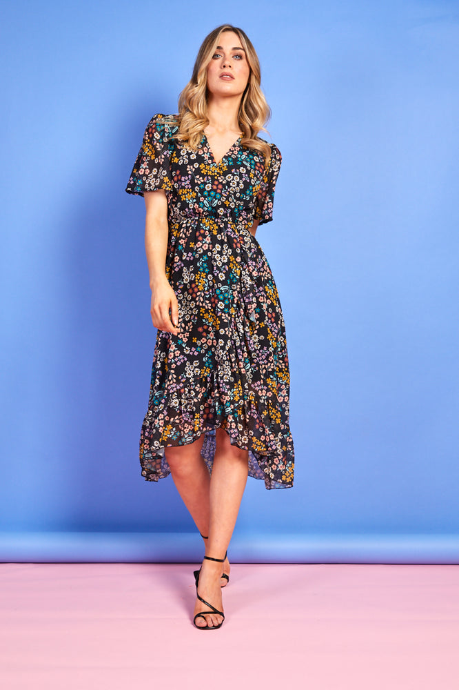 Maddie Black Summer Print Dress