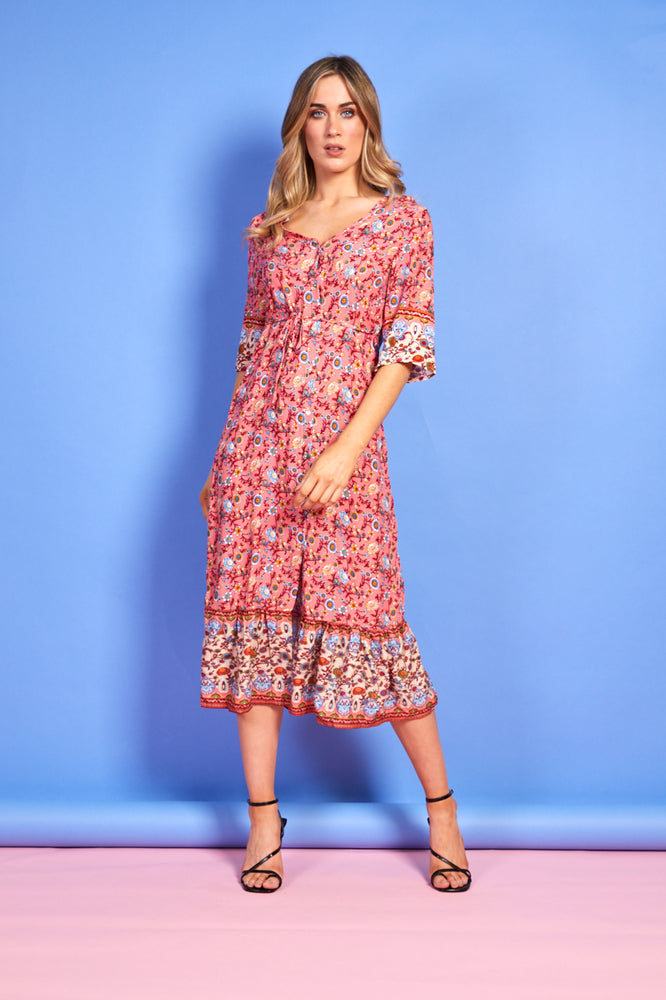 Lorna Pink Multi Printed Button Up Dress
