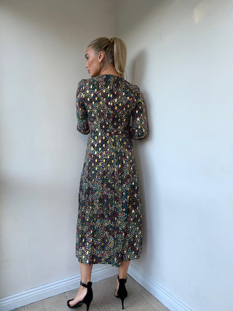 Patty Golden Leaves Print Dress
