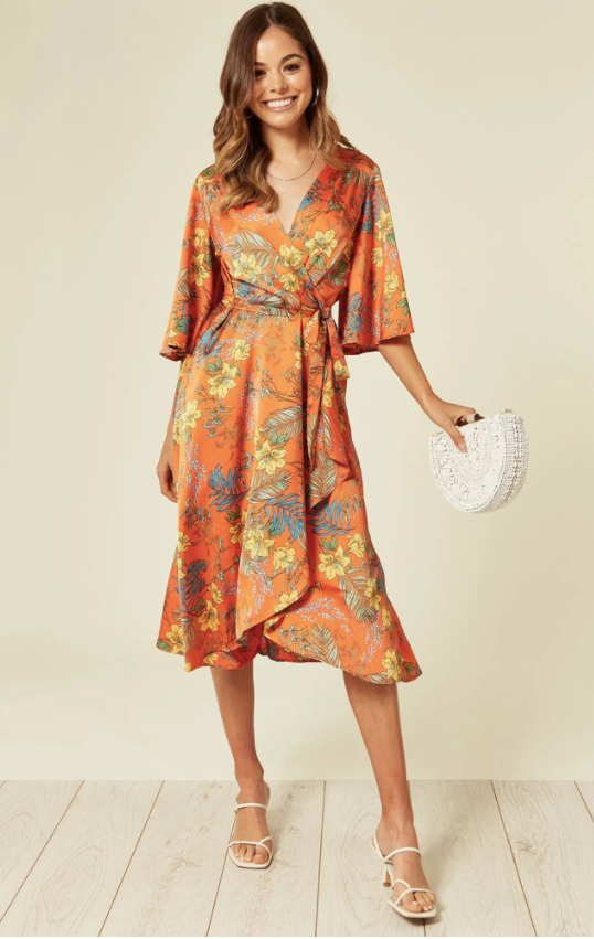 Orlaith Floral Midi Wrap Dress - Orange