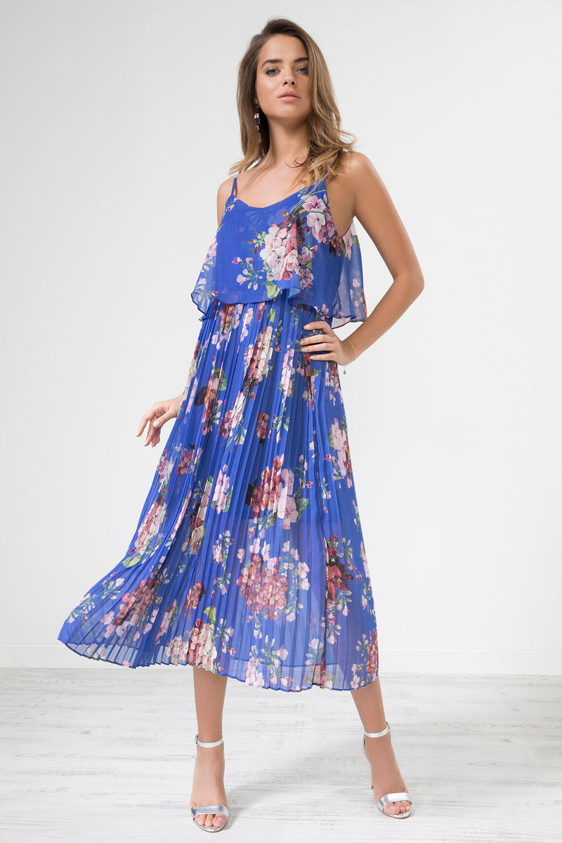 Morgana Floral Print Pleated Cami Midi Dress - Dark Blue