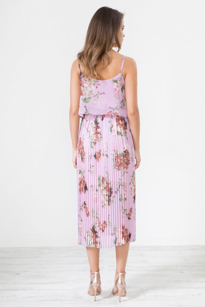 Morgana Floral Print Pleated Cami Midi Dress - Lilac