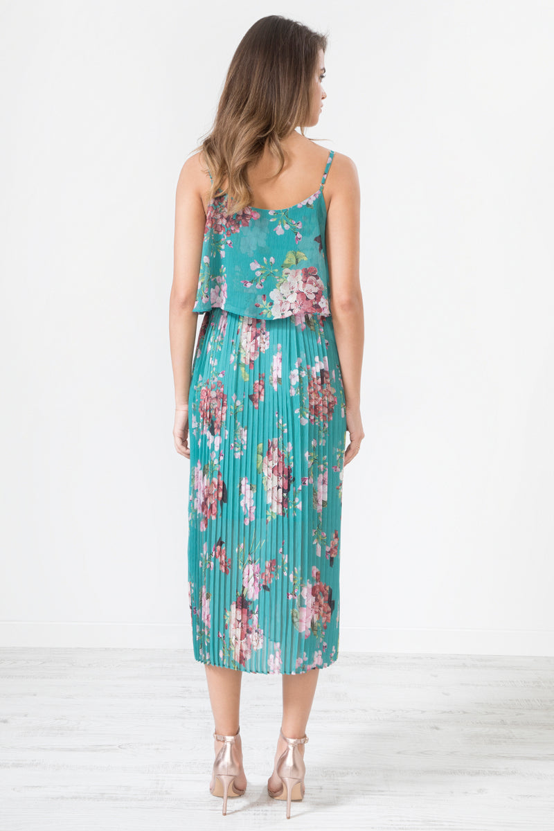 Morgana Floral Print Pleated Cami Midi Dress - Teal