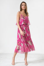 Morgana Floral Print Pleated Cami Midi Dress - Fuchsia