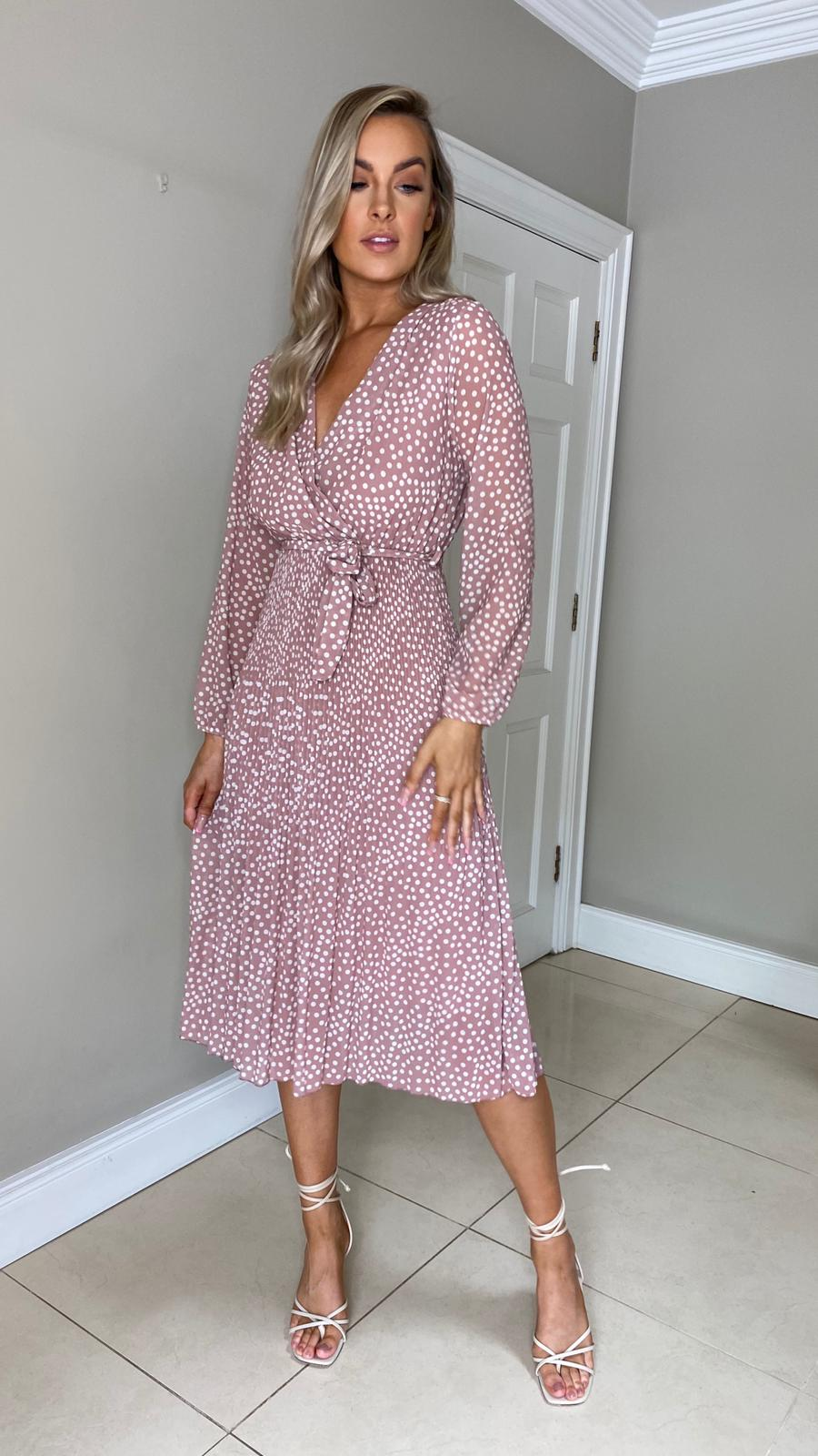 Cathy spot dress - blush