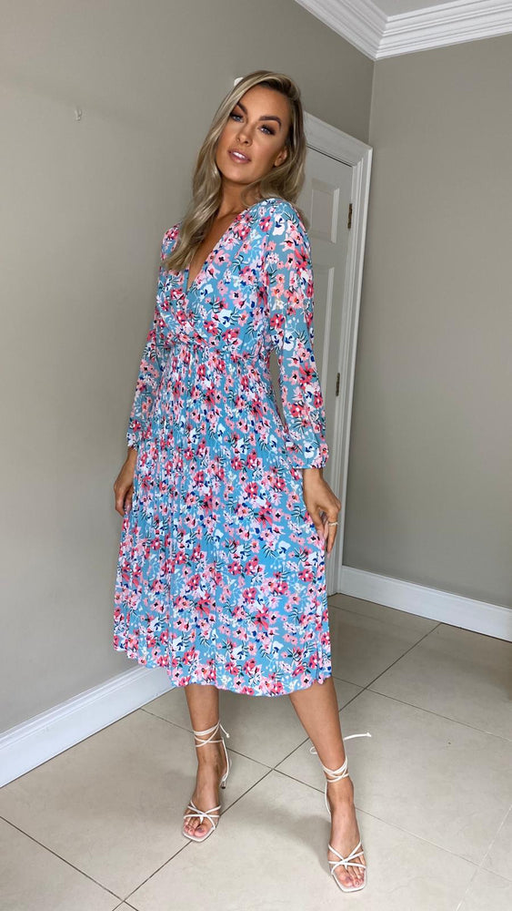 Mary Floral Print Dress - Blue