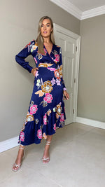 Priscilla Floral Print Wrap Dress - Navy