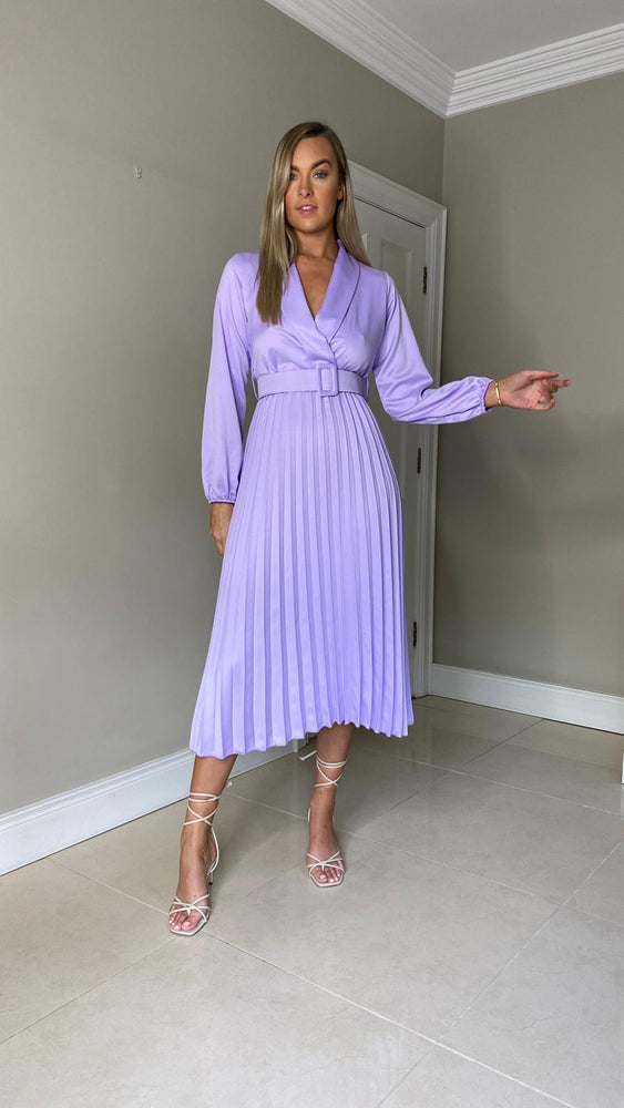 Monica Pleated Belted Midi Dress - Lilac